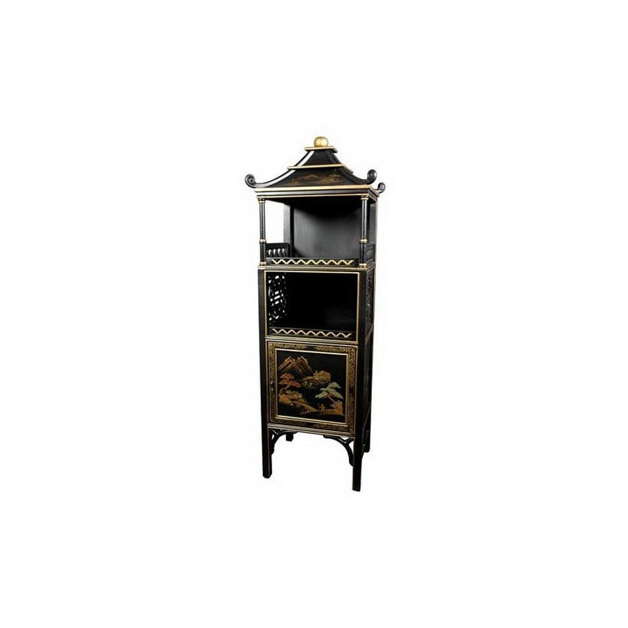 Oriental Furniture Japanese Pagoda Black 49-in 2-Shelf Bookcase
