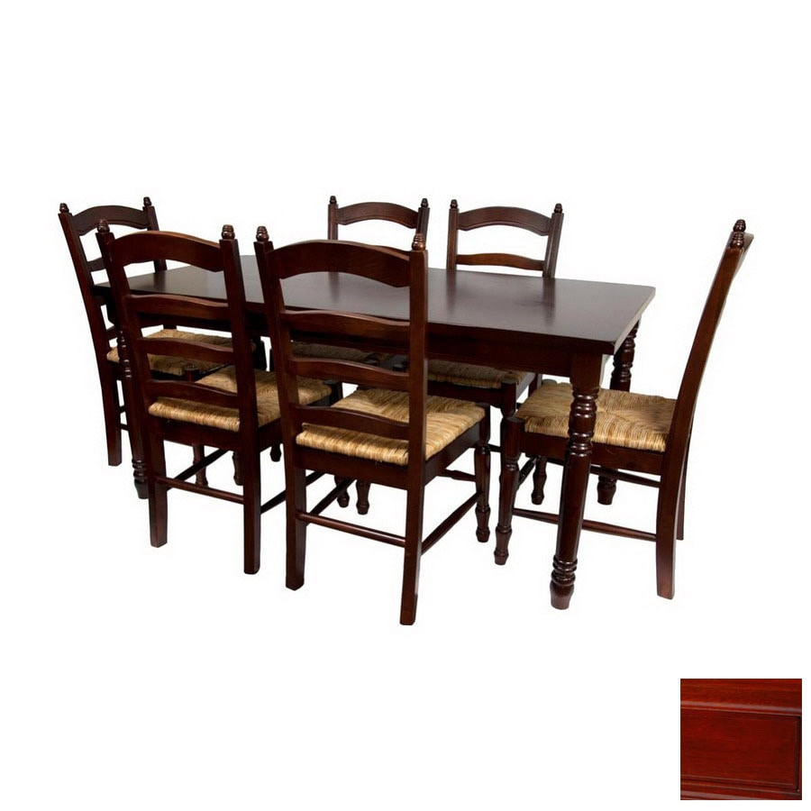 Shop oriental furniture classic design cherry dining set for Dining room tables lowes