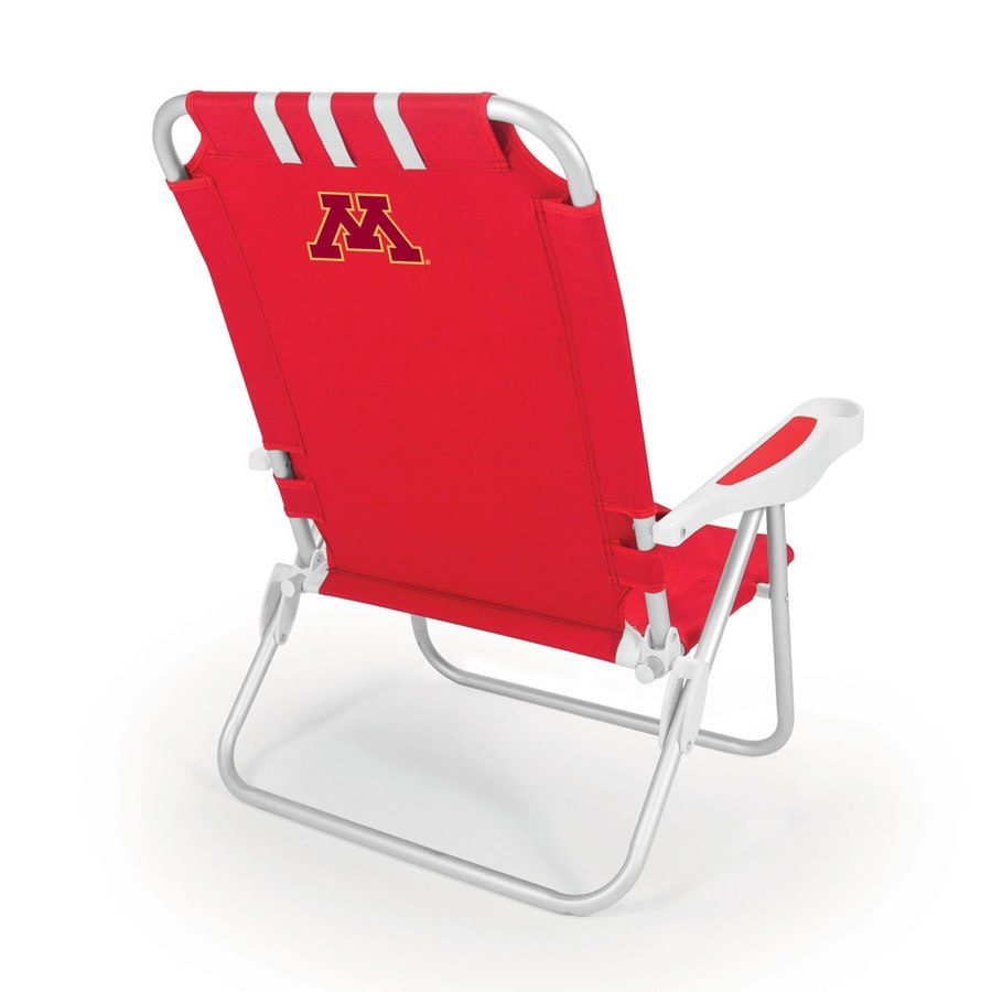 Picnic Time Red NCAA Minnesota Golden Gophers Steel Folding Beach Chair