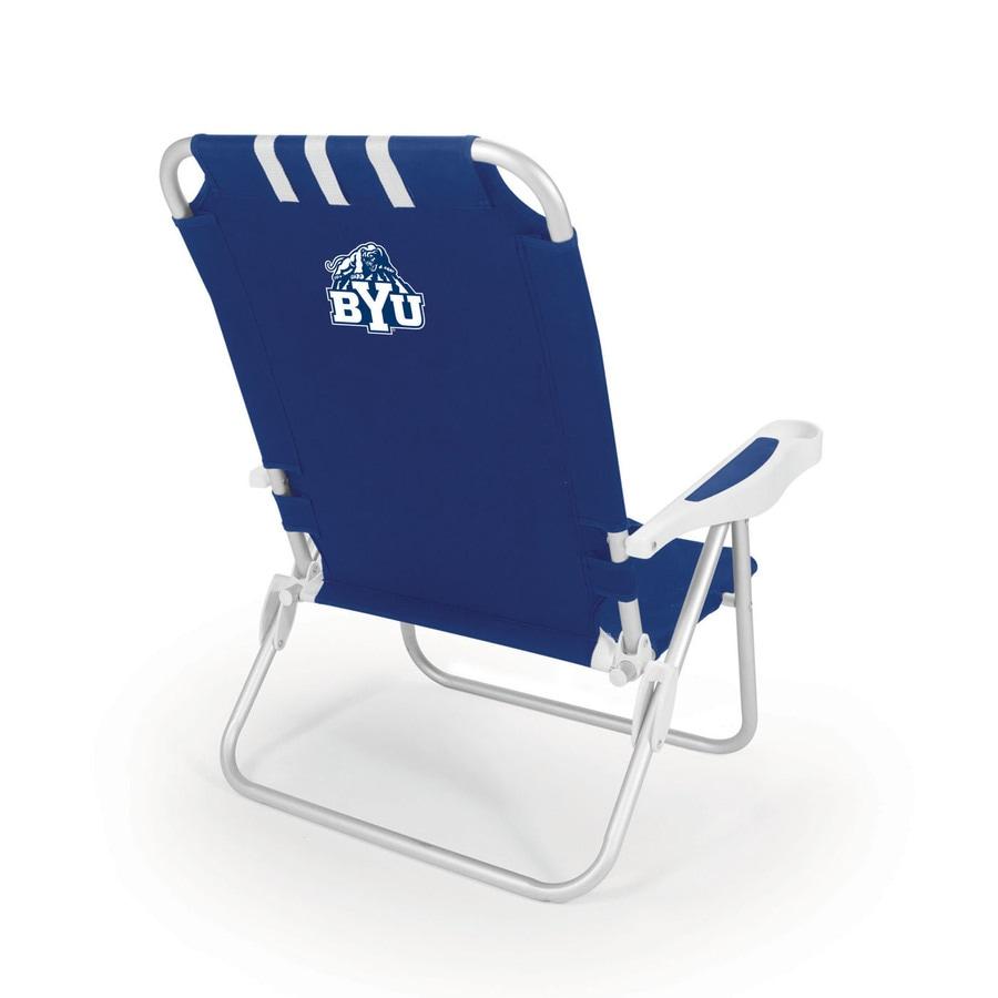 Picnic Time Navy NCAA Byu Cougars Steel Folding Beach Chair
