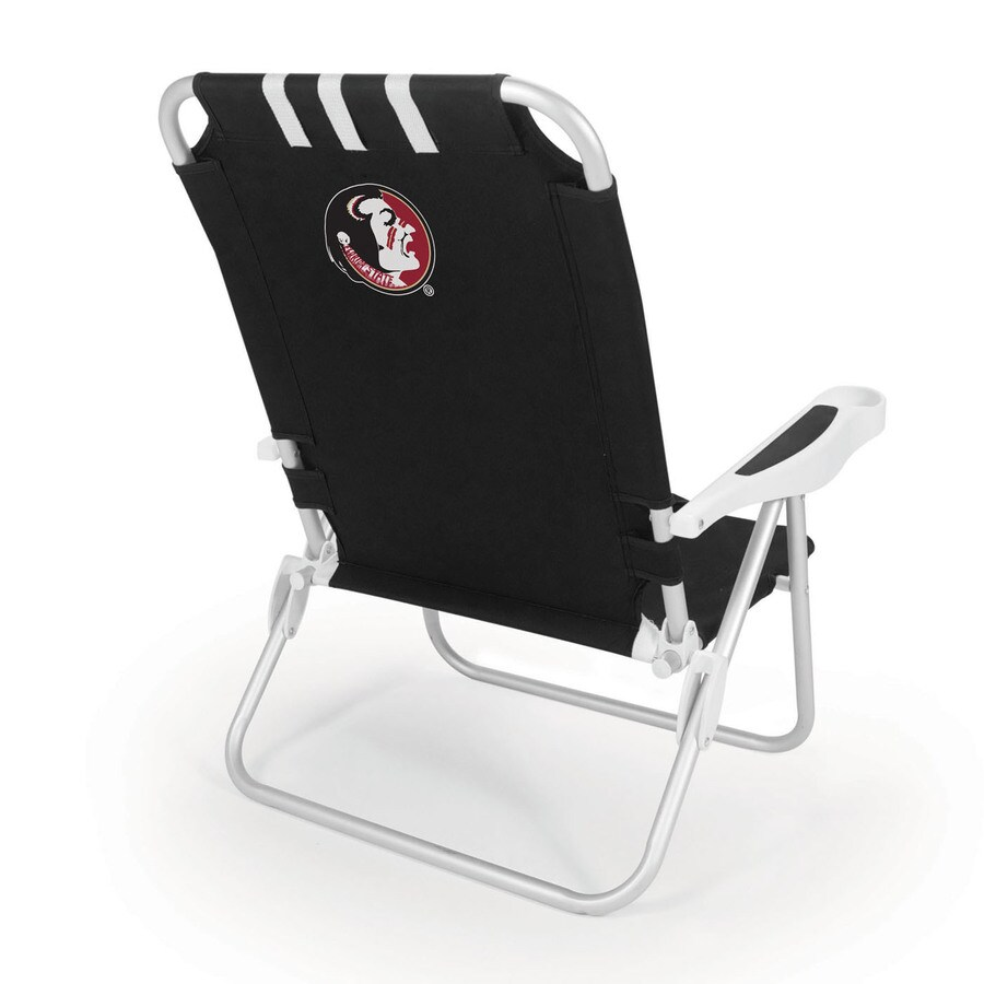 Picnic Time Black NCAA Florida State Seminoles Steel Folding Beach Chair