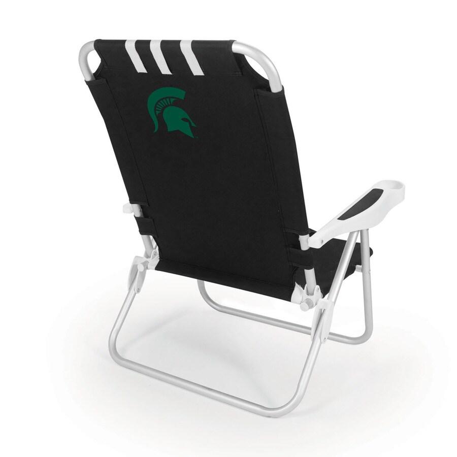 Picnic Time Black NCAA Michigan State Spartans Steel Folding Beach Chair