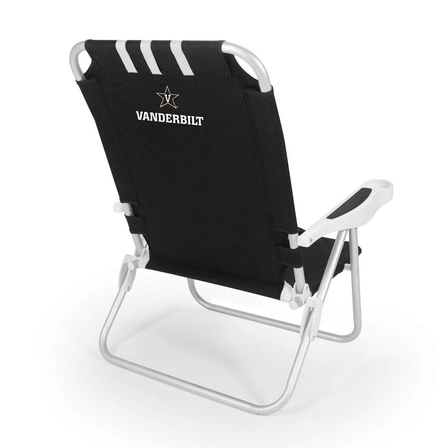 Picnic Time Black NCAA Vanderbilt Commodores Steel Folding Beach Chair