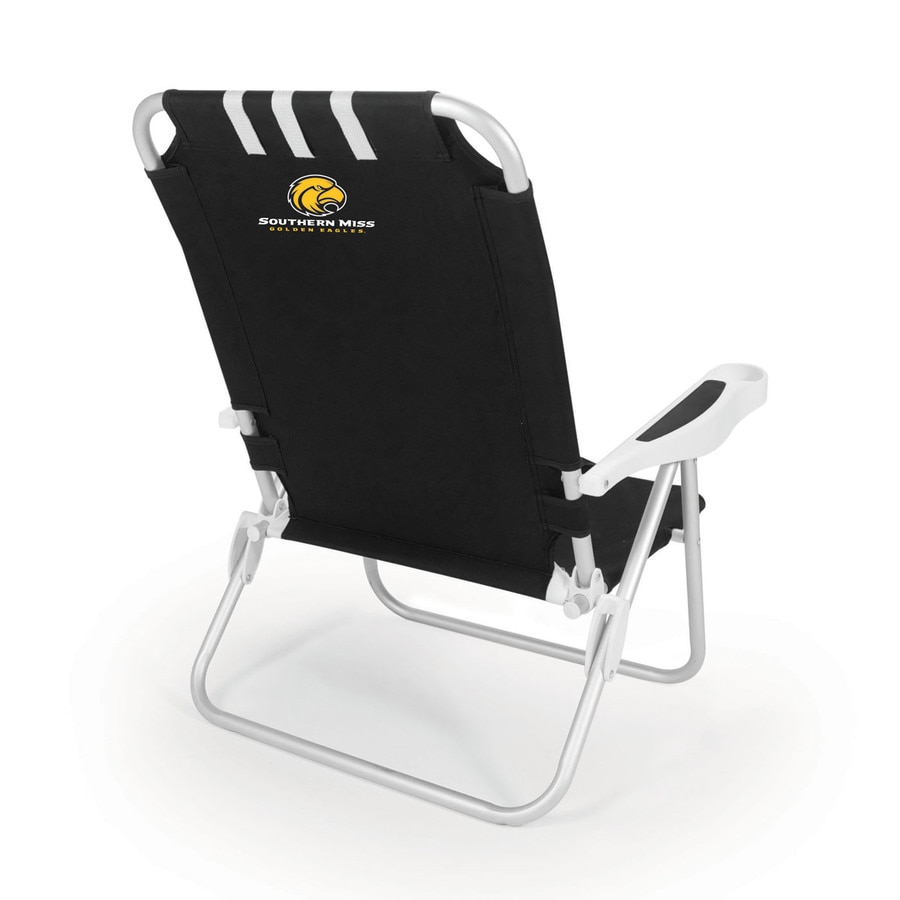 Picnic Time Black NCAA Southern Mississippi (Miss) Golden Eagles Steel Folding Beach Chair