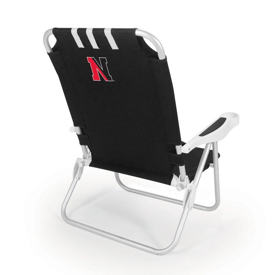 Picnic Time Black NCAA Northeastern Huskies Steel Folding Beach Chair