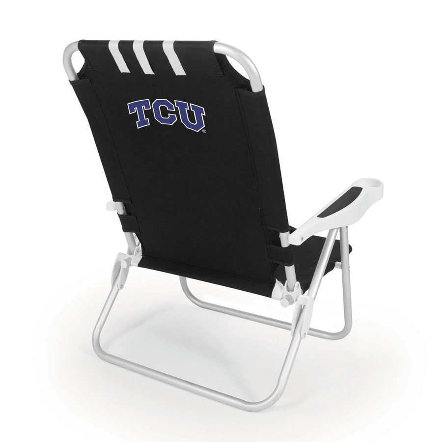 Picnic Time Black NCAA Tcu Horned Frogs Steel Folding Beach Chair