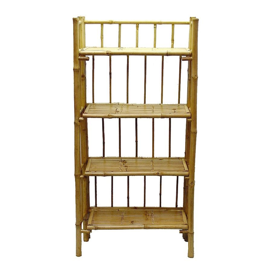 Bamboo 54 Natural Bamboo 26-in W x 53-in H x 12-in D 4-Shelf Bookcase