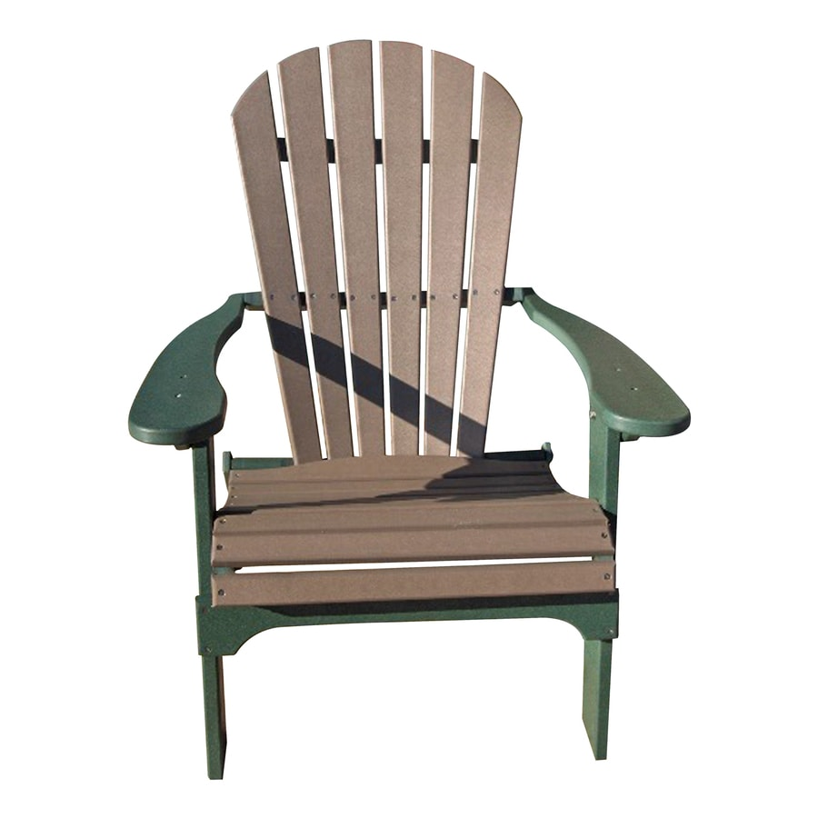 Phat Tommy Weatherwood/Hunter Green Recycled Poly Folding Patio Adirondack Chair