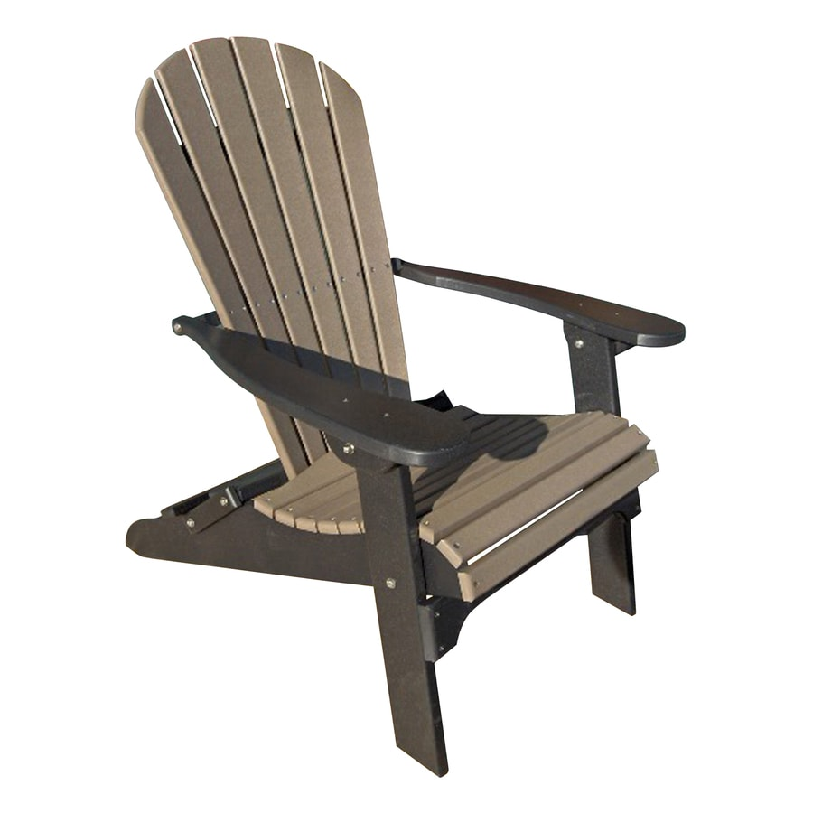 Phat Tommy Weatherwood/Black Recycled Poly Folding Patio Adirondack Chair