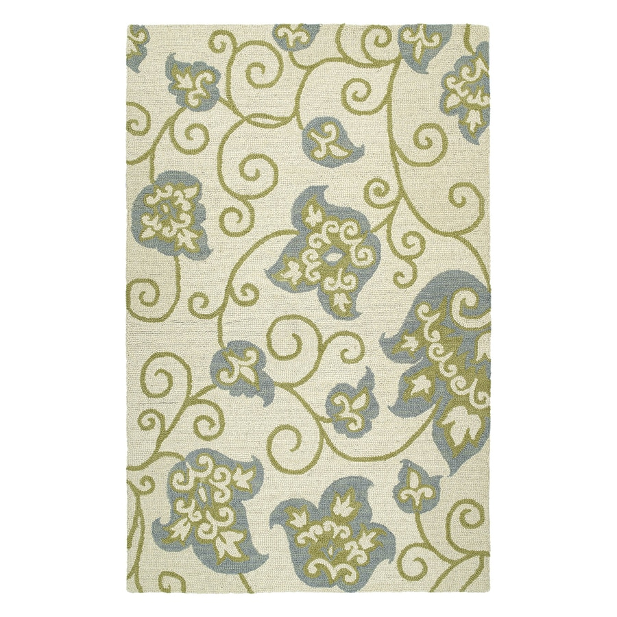 Kaleen Carriage Rectangular Cream Floral Wool Area Rug (Common: 8-ft x 10-ft; Actual: 8-ft x 10-ft)