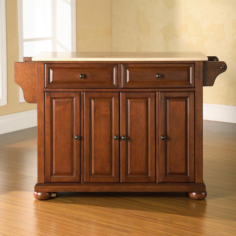 Crosley Furniture 52-in L x 18-in W x 34-in H Classic Cherry Kitchen Island