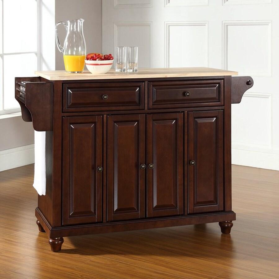 Crosley Furniture 52-in L x 18-in W x 34-in H Vintage Mahogany Kitchen Island