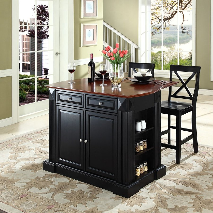 Crosley Furniture 48-in L x 35-in W x 36-in H Black Kitchen Island with 2 Stools