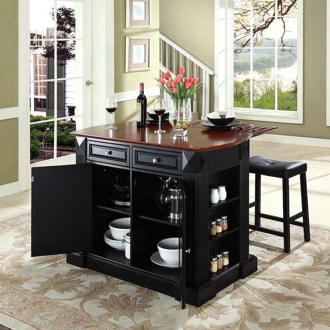Crosley Furniture Black Craftsman Kitchen Island with 2 ...