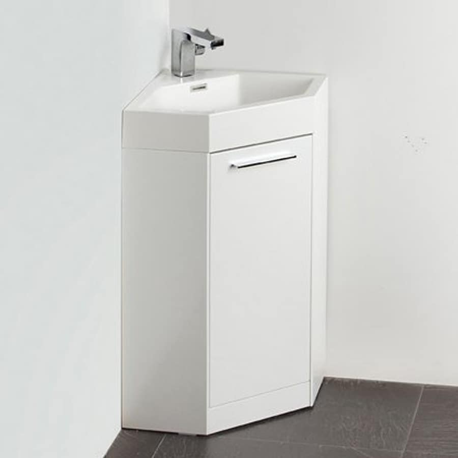 Fresca Lucido White Integral Single Sink Bathroom Vanity with Acrylic Top (Faucet Included) (Common: 17-in; Actual: x 17.5-in)