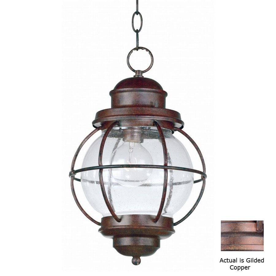 Kenroy Home Hatteras 16-in Gilded Copper Hardwired Outdoor Pendant Light
