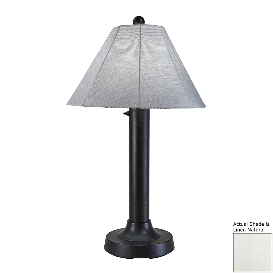 Patio Living Concepts Seaside 34 In Black Electrical Outlet Table Lamp With Fabric Shade