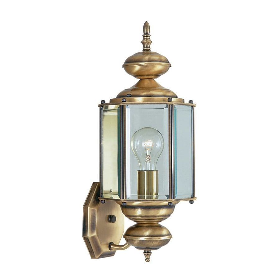 Exterior Wall Lights Brass : Shop Livex Lighting Basics 17-in H Antique Brass Outdoor Wall Light at Lowes.com