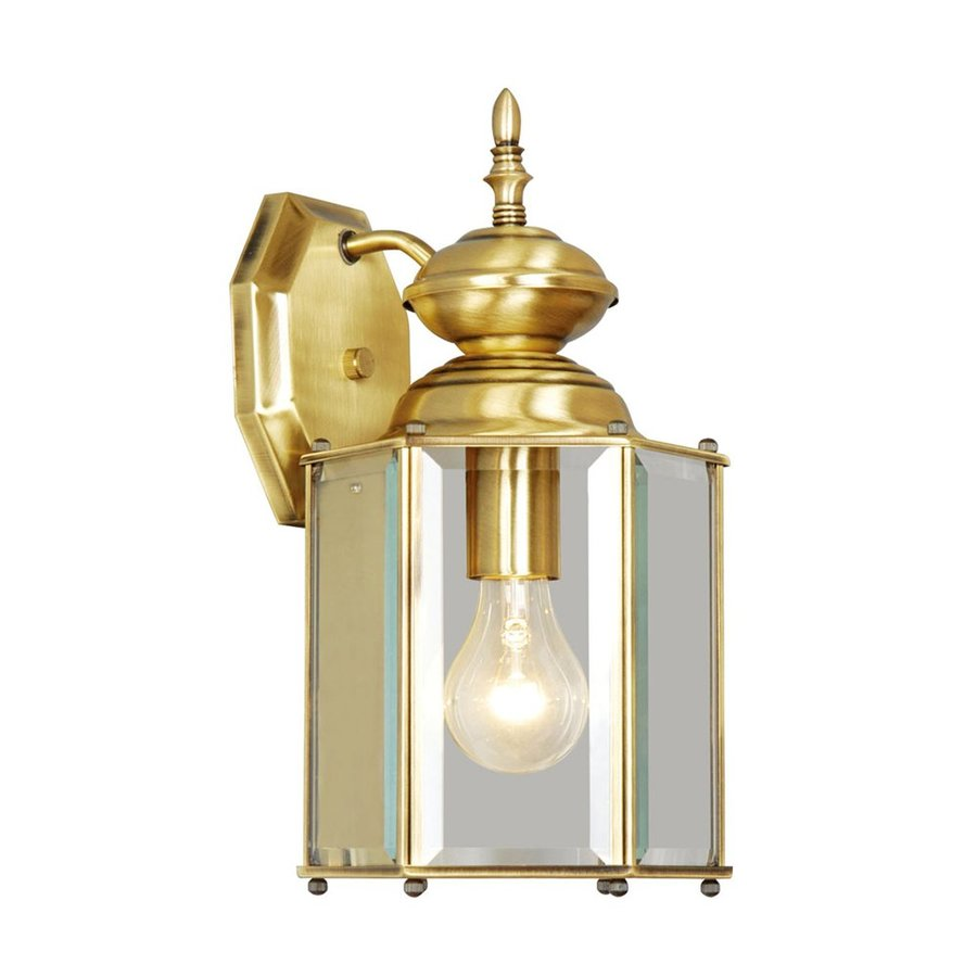 Brass Outdoor Wall Sconces : Shop Livex Lighting Basics 13-in H Antique Brass Outdoor Wall Light at Lowes.com