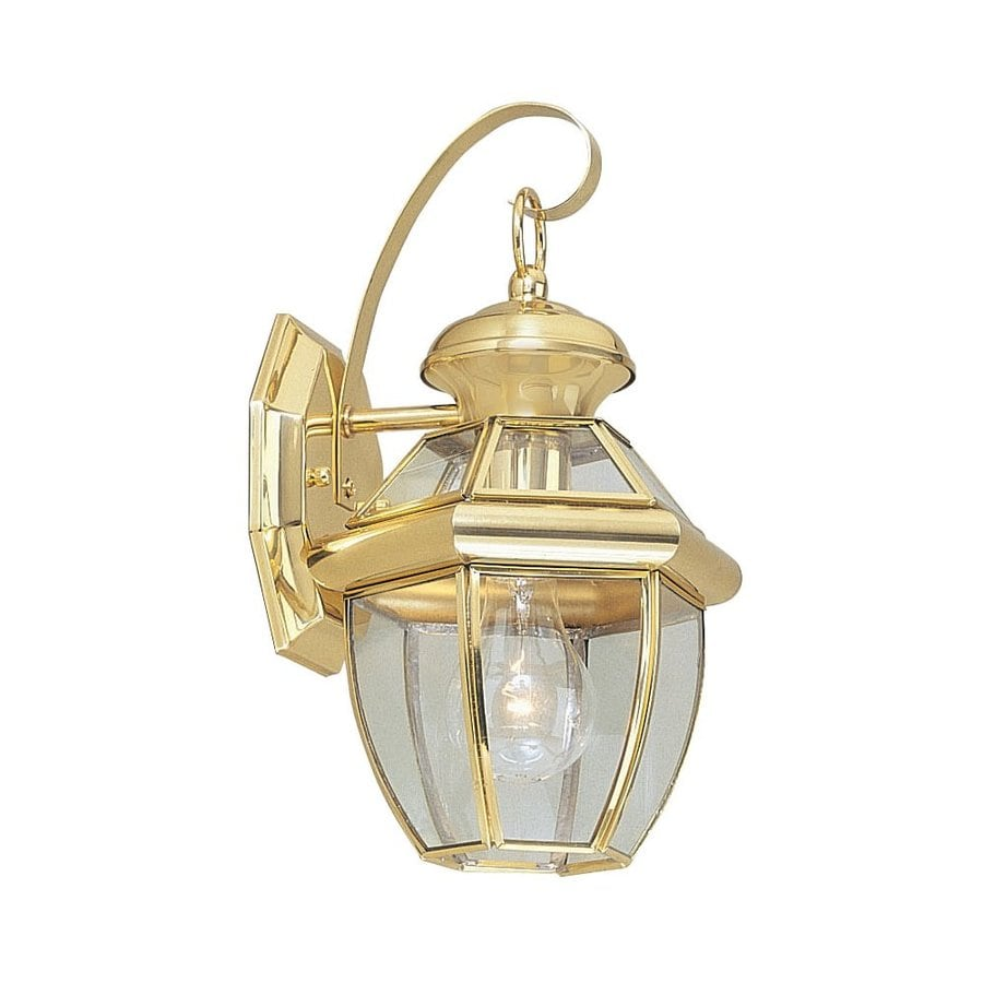 Polished Brass Wall Lamps : Shop Livex Lighting Monterey 12.5-in H Polished Brass Outdoor Wall Light at Lowes.com