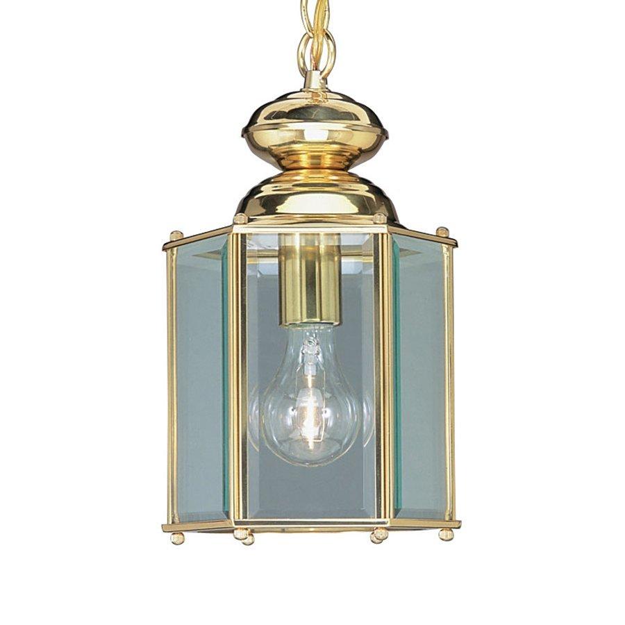 Livex Lighting Basics Hexagonal 12.5-in H Brass Outdoor Pendant Light