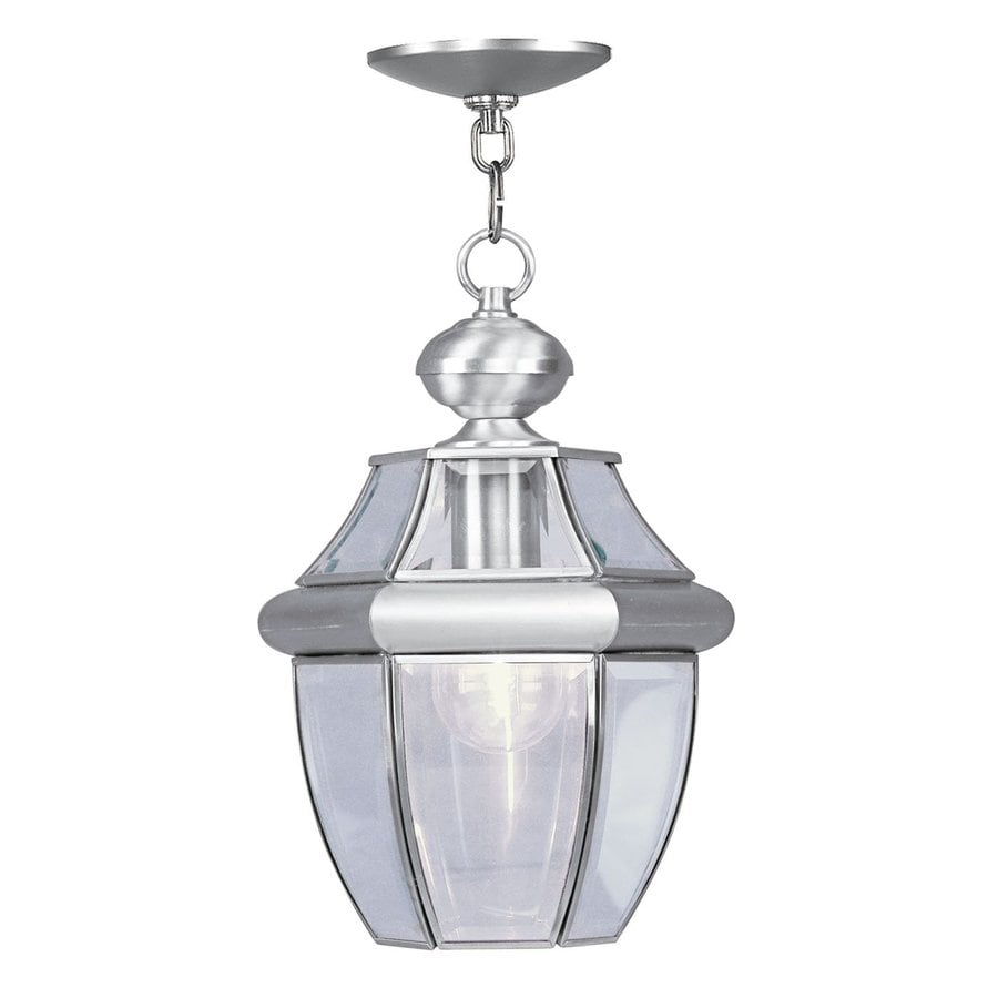 Outdoor Hanging Lanterns Lowes: Shop Livex Lighting Monterey 12.75-in H Nickel Outdoor