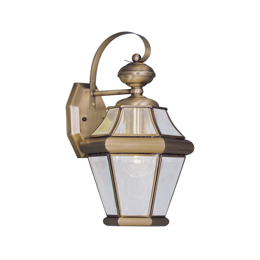 Shop Livex Lighting Georgetown 15-in H Antique Brass Outdoor Wall Light at Lowes.com