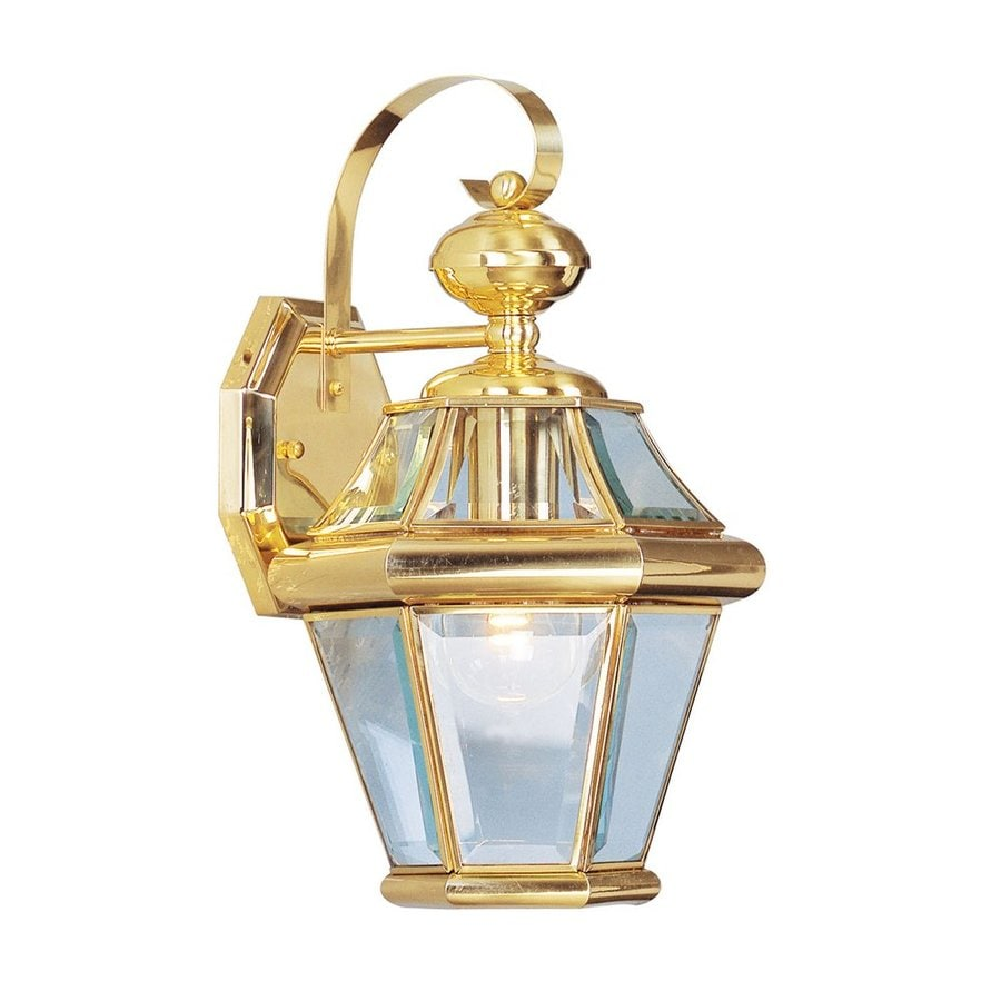 Shop Livex Lighting Georgetown 15 In H Polished Brass Outdoor Wall Light At