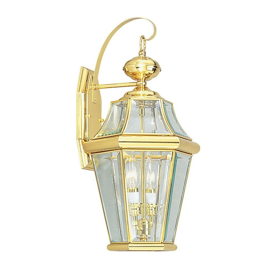 Shop livex lighting georgetown h polished brass for Brass outdoor lighting
