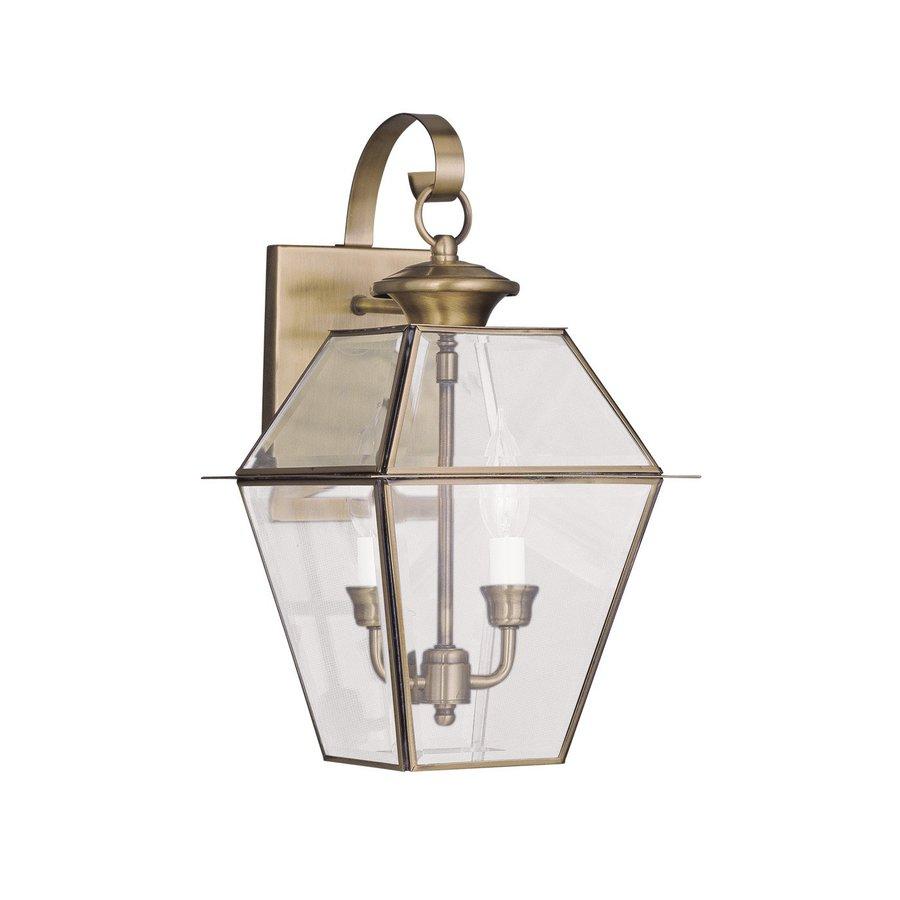 Livex Lighting Westover 16.5-in H Antique Brass Outdoor Wall Light