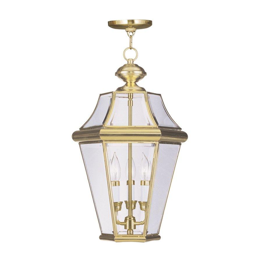 Livex Lighting Georgetown 21-in H Brass Outdoor Pendant Light