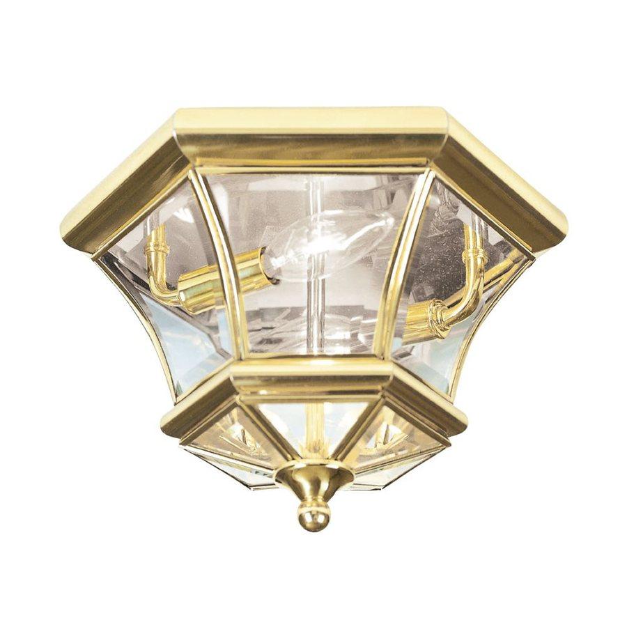 Livex Lighting Monterey 10.5-in W Polished Brass Outdoor Flush-Mount Light