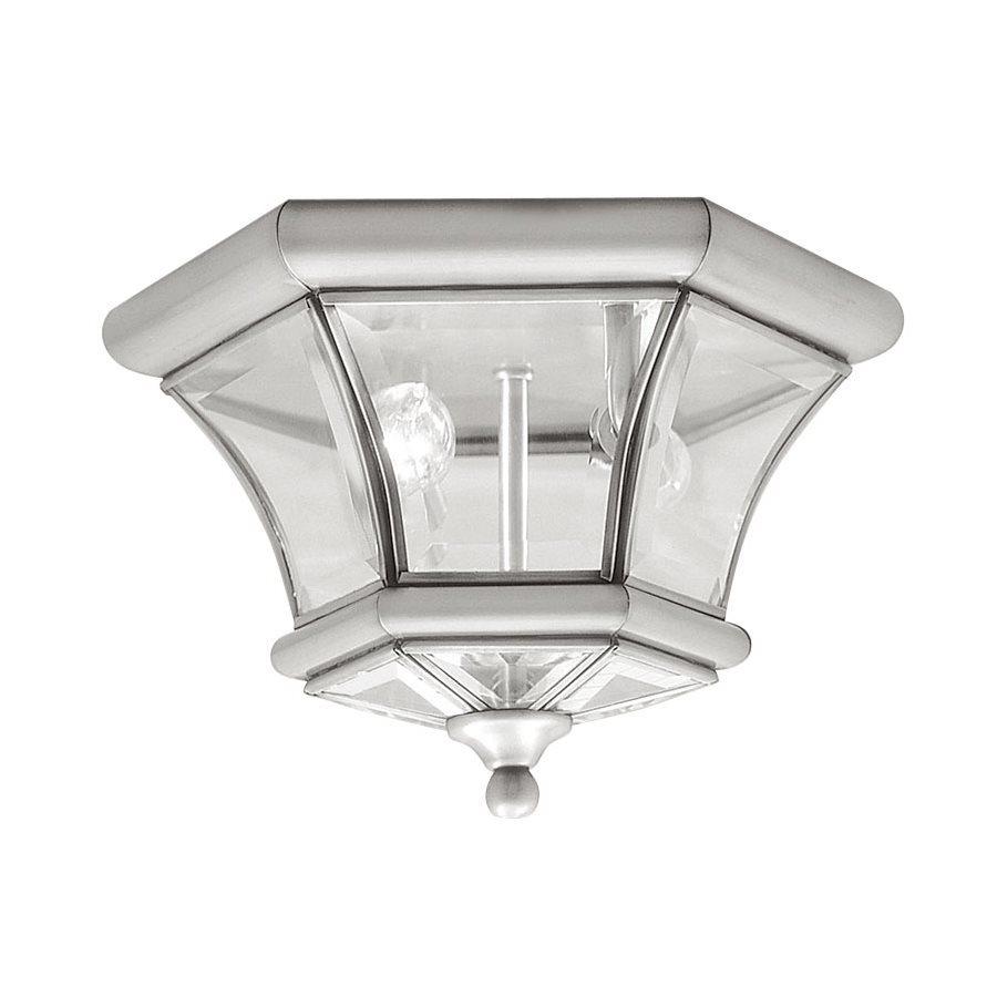 Livex Lighting Monterey 10.5-in W Brushed Nickel Outdoor Flush-Mount Light