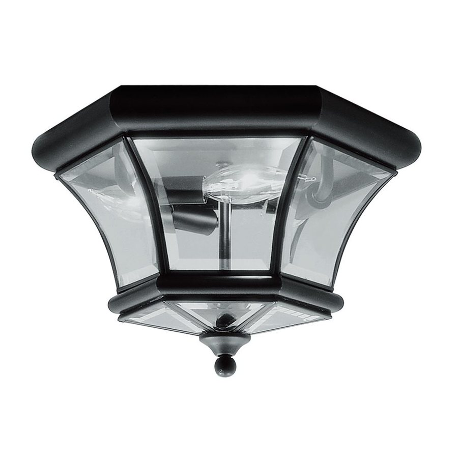 Livex Lighting Monterey 12.5-in W Black Outdoor Flush-Mount Light