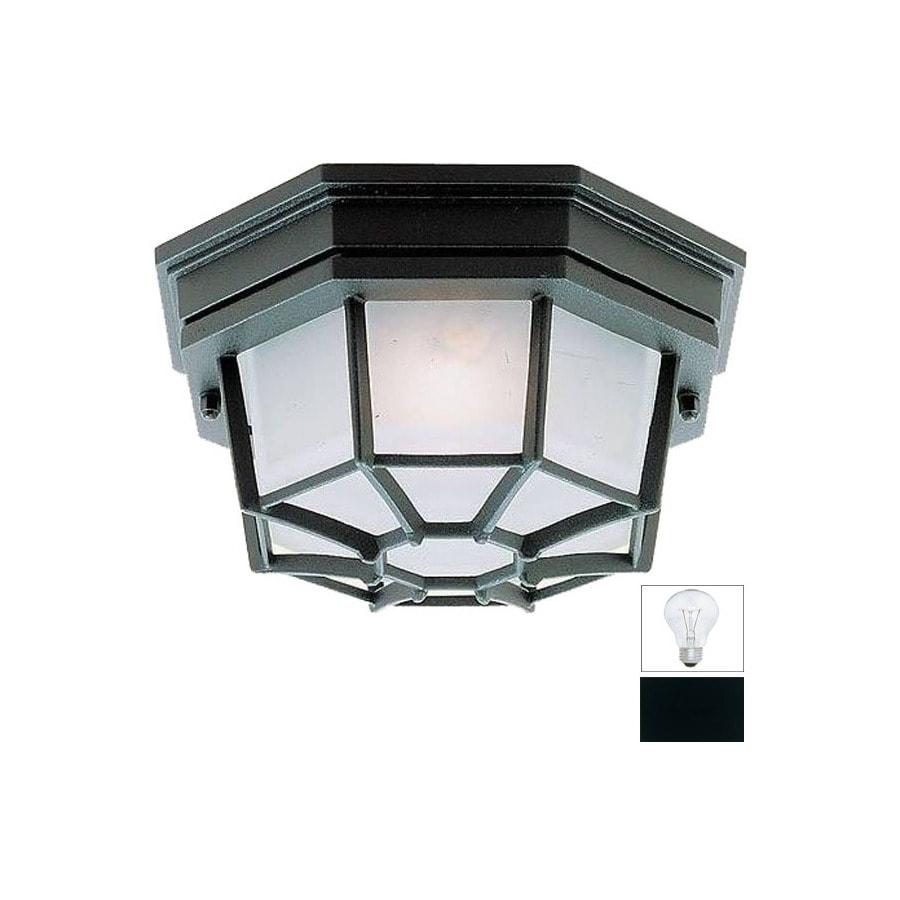 Livex Lighting 9-in W Black Outdoor Flush-Mount Light