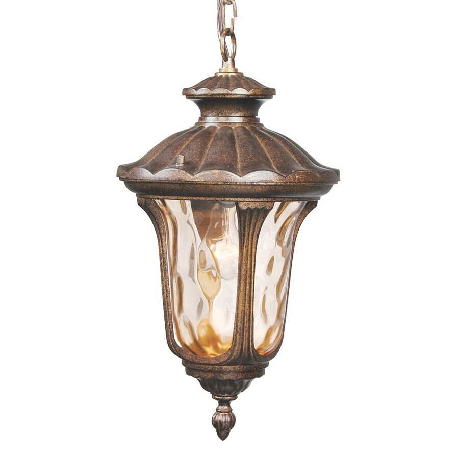 Livex Lighting Oxford 17.5-in H Yellow/Gold Outdoor Pendant Light