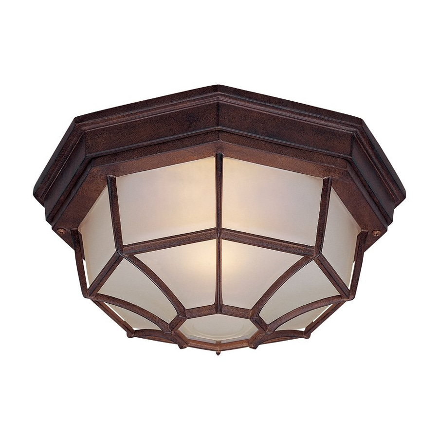 Shop Acclaim Lighting 11 In W Burled Walnut Outdoor Flush Mount Light At