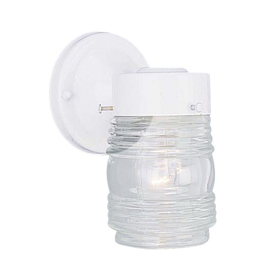 Volume International Jelly Jar 7-in H White Outdoor Wall Light