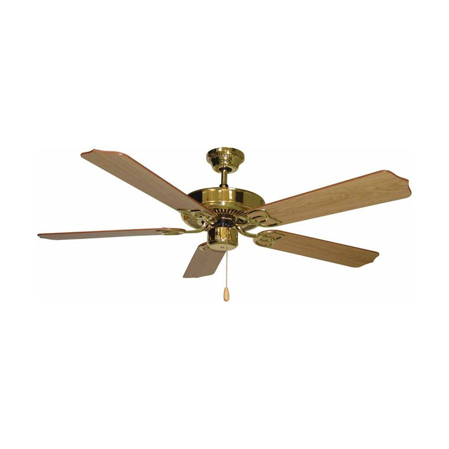Volume International Marti 52-in Polished Brass Downrod Mount Indoor Residential Ceiling Fan (5-Blade)