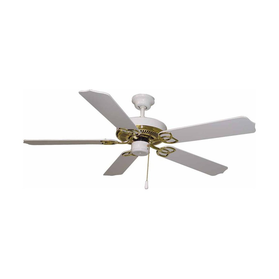 Volume International Minster 52-in Polished Brass and White Downrod Mount Indoor Residential Ceiling Fan (5-Blade)