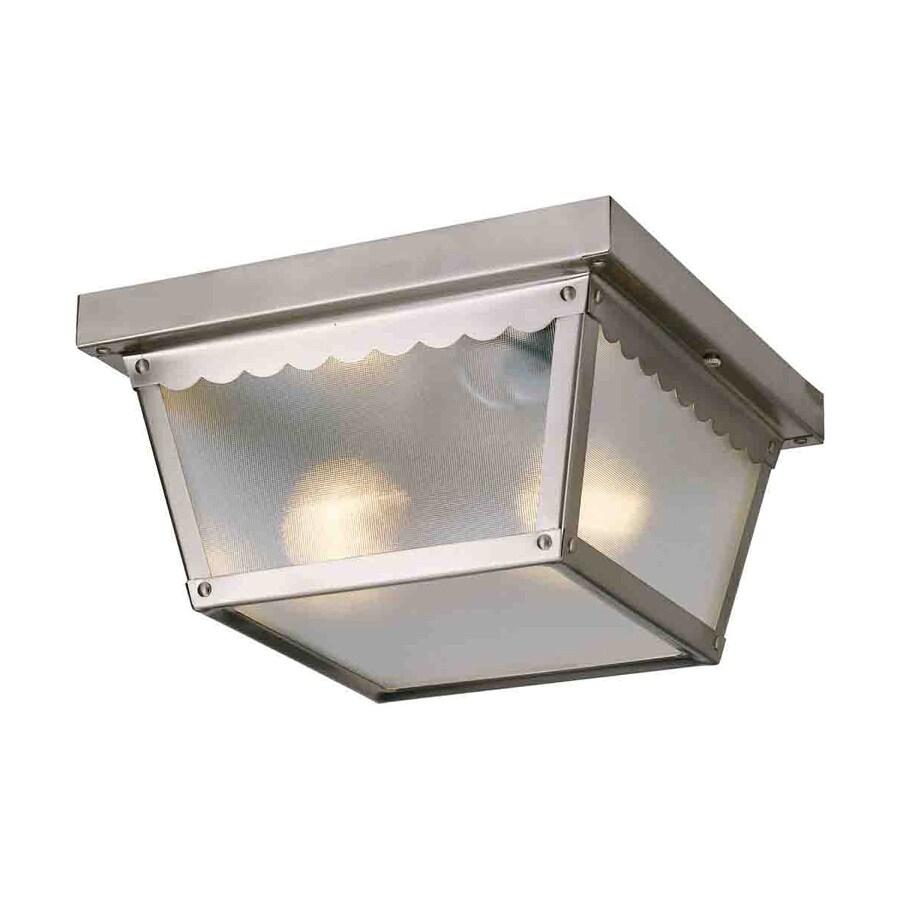 Volume International 9.25-in W Brushed Nickel Outdoor Flush-Mount Light