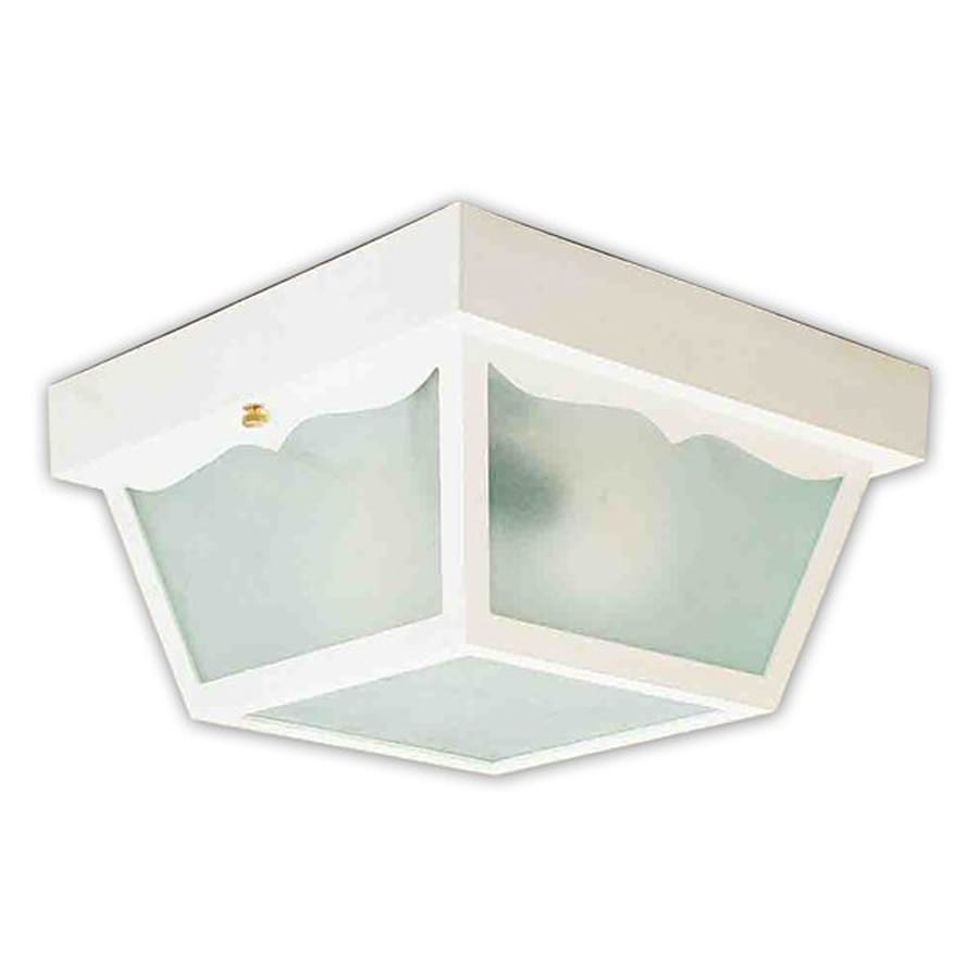 Volume International 8.25-in W White Outdoor Flush Mount Light