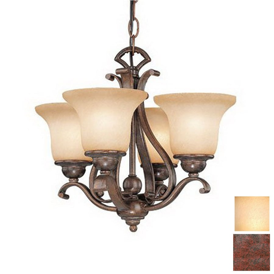 Cascadia Lighting 4-Light Royal Bronze Ceiling Fan Light Kit with Brushed Cognac Glass