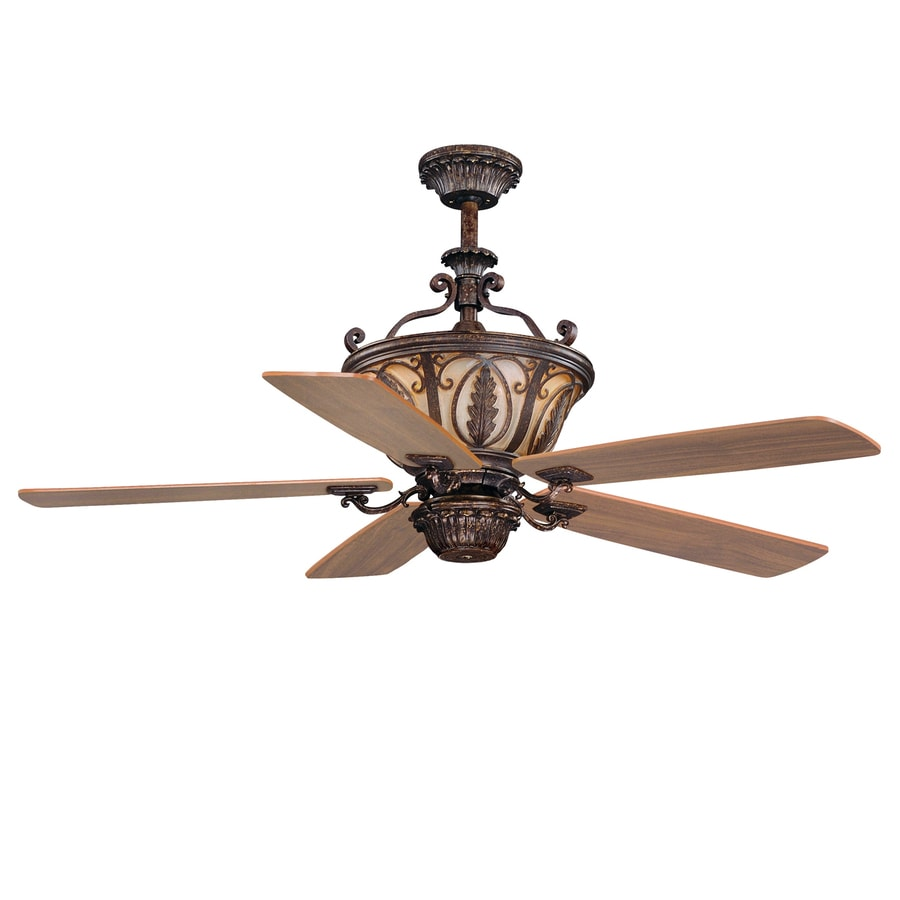 Cascadia Lighting Dynasty 56-in Forum Patina Downrod Mount Indoor Ceiling Fan with Remote (5-Blade)