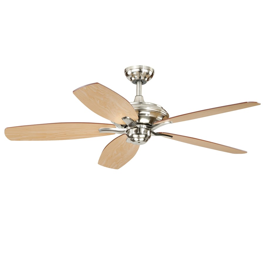 Shop Cascadia Lighting Valencia 52-in Satin Nickel Downrod or Close Mount Indoor Ceiling Fan (5 ...