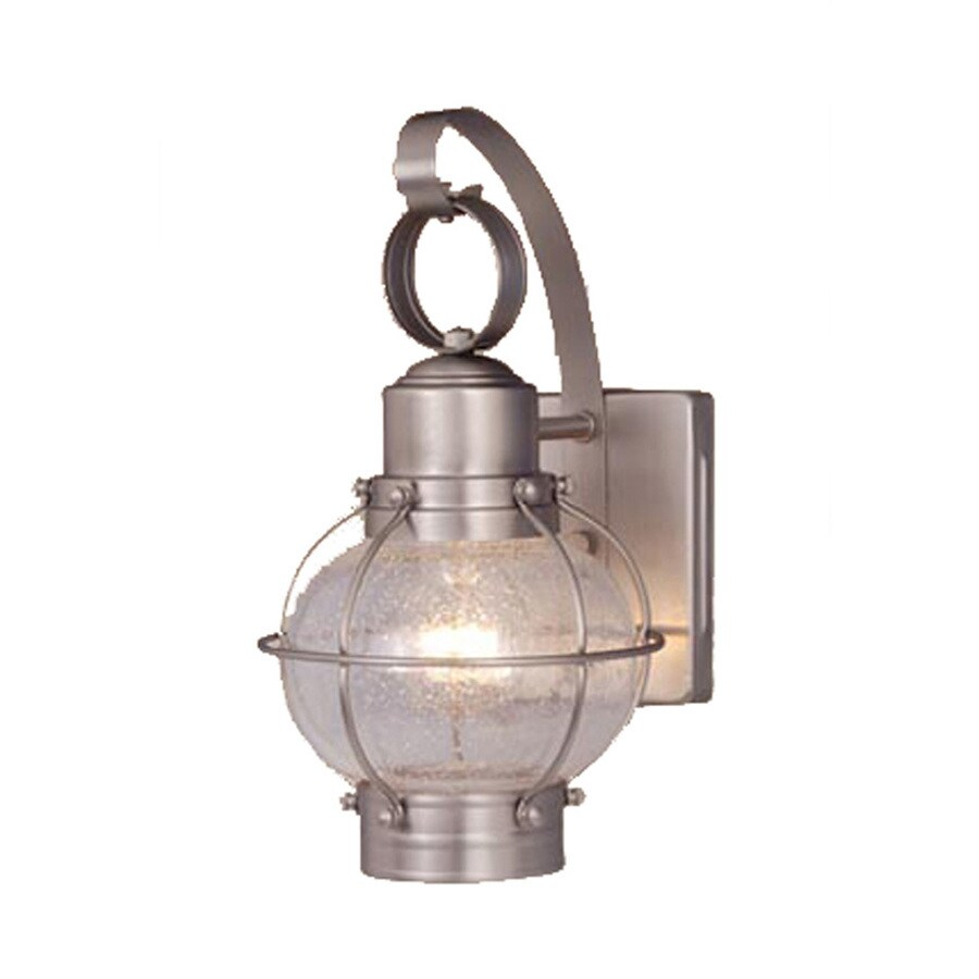 lighting nautical 12 in h brushed nickel outdoor wall light at lowes. Black Bedroom Furniture Sets. Home Design Ideas