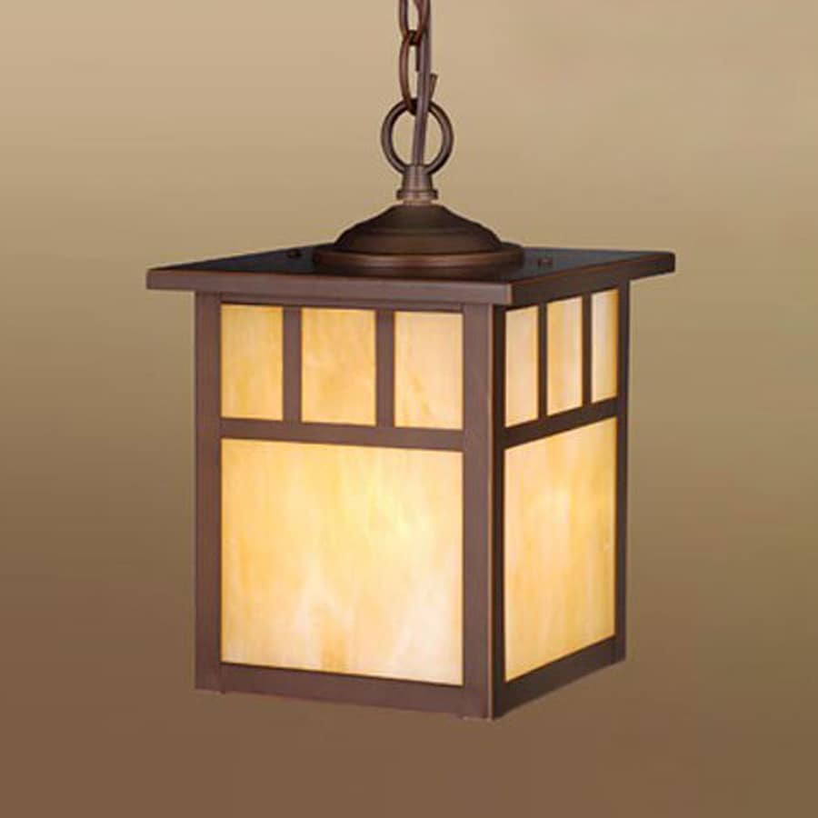 Cascadia Lighting Mission 11-in Burnished Bronze Hardwired Outdoor Pendant Light