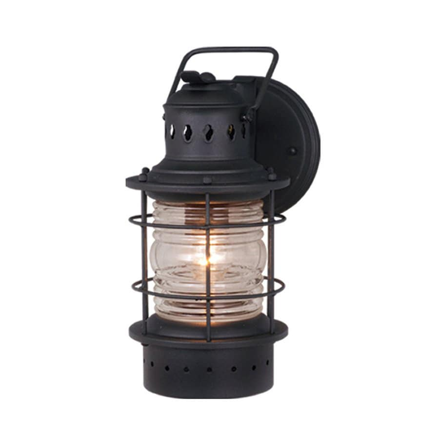Nautical Exterior Wall Lights : Shop Cascadia Lighting Nautical 12-in H Textured Black Outdoor Wall Light at Lowes.com