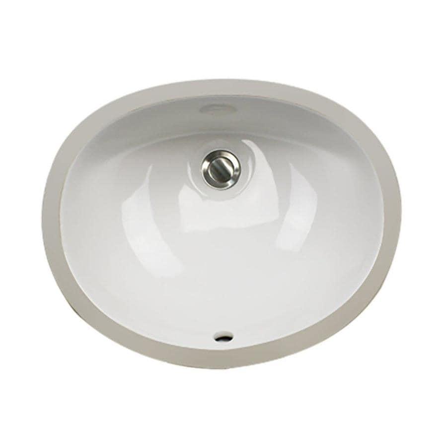 Nantucket White Undermount Oval Bathroom Sink with Overflow