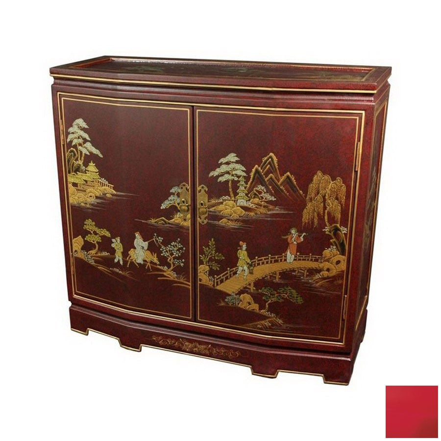 Shop oriental furniture lacquer red lacquer 2 shelf office for Red chinese furniture